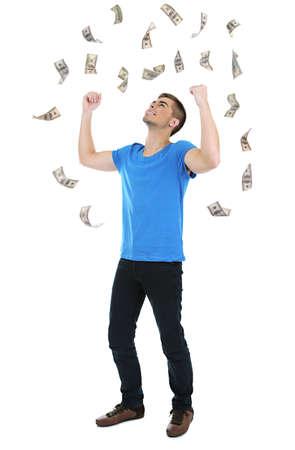 Happy man enjoying rain of money, isolated on white photo