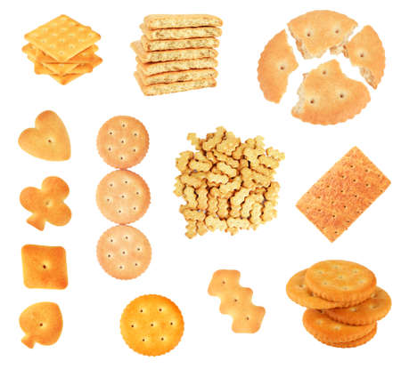 Collage of tasty cookies isolated on white Stock Photo