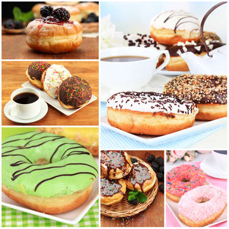 Collage of tasty donuts photo