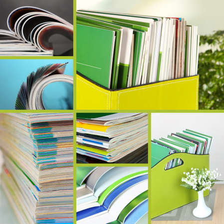 Collage of colorful magazines close-up photo