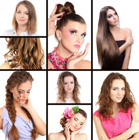combed: Fashion hairstyle collage Stock Photo