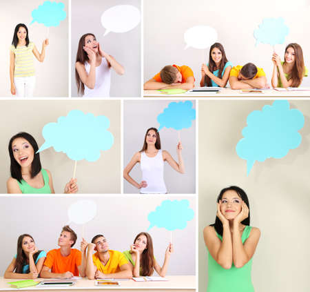successful student: Collage of group young people with empty think bubbles