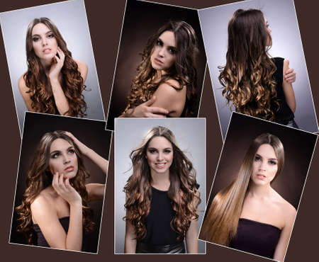 Fashion hairstyle collage photo