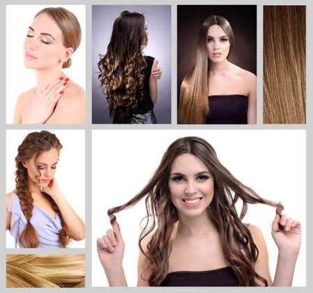 Fashion hairstyle collage photo