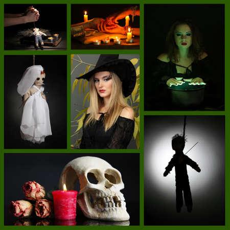 ahorcada: La magia negra y collage bruja