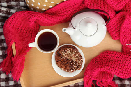 Cup and teapot with cookies on tray and scarf on bed close up Stock Photo