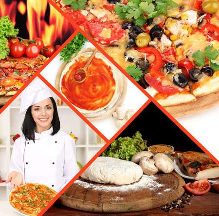 Collage of preparing pizza photo