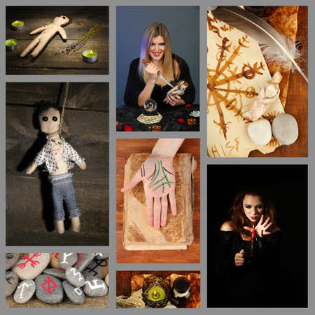 supernatural power: Dark magic and witch collage Stock Photo