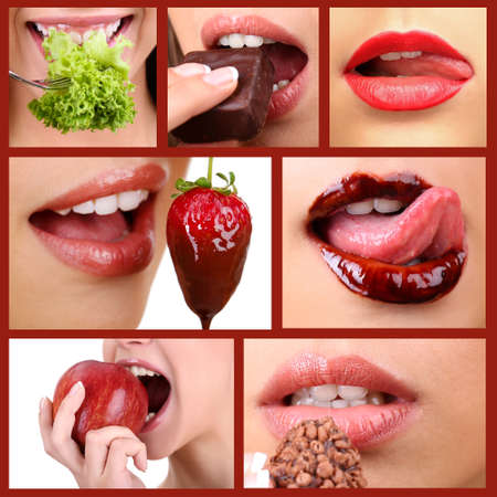 Collage of female mouth desire eating photo