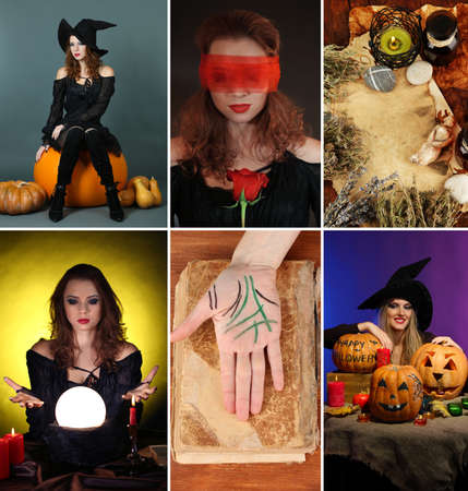hanged woman: Dark magic and witch collage Stock Photo