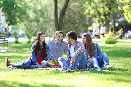 picnic cloth: Happy friends on picnic in park