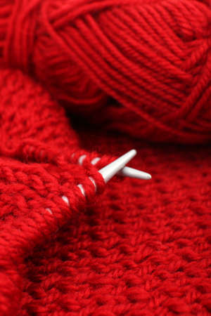 Knitting with spokes close up photo