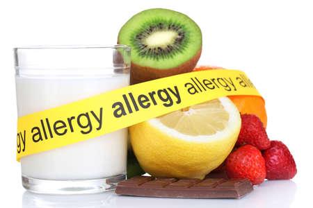 白で隔離されるアレルゲン食品