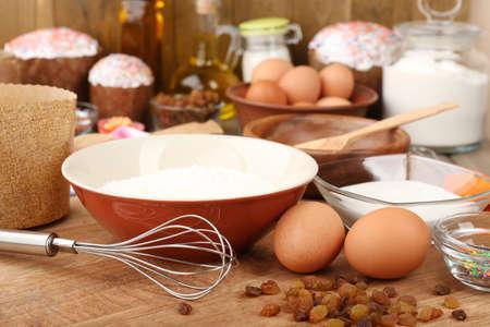 paskha: Easter cake preparing in kitchen