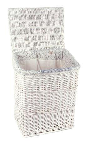 Laundry basket isolated on white photo