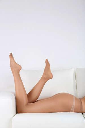 nylon: Stockings on perfect woman legs, close up