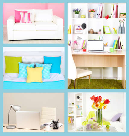 table decorations: Collage of interior design Stock Photo