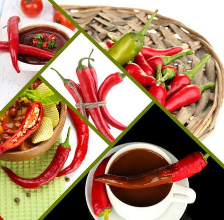 Red hot chili pepper collage photo