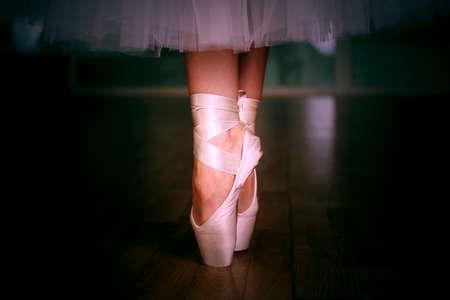 ballerina shoes: Ballerina legs in pointes Stock Photo