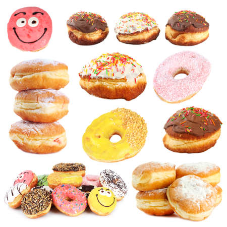 Collage of tasty donuts isolated on white photo