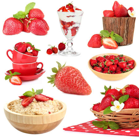 Collage of fresh strawberry isolated on white Stock Photo - 28729294