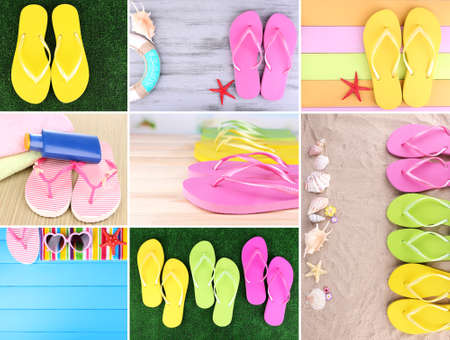Colorful flip-flops collage photo