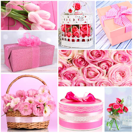 Collage of photos with flowers and gifts photo