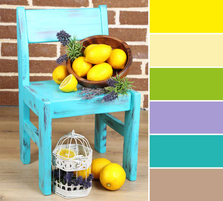 complimentary: Still life with fresh lemons and lavender. Color palette with complimentary swatches