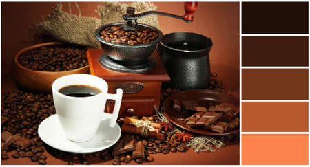 complimentary: Cup of coffee, grinder, turk and coffee beans on brown background. Color palette with complimentary swatches Stock Photo
