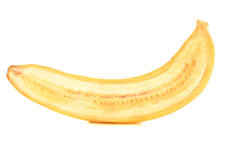 Halved ripe banana isolated on white background photo