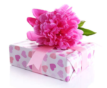 Beautiful peony flower and gift box, isolated on white photo