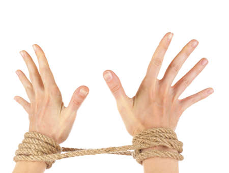 captivity: Tied hands, isolated  white