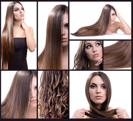 Fashion hairstyle collage. Beautiful girl with natural long hair Stock Photo