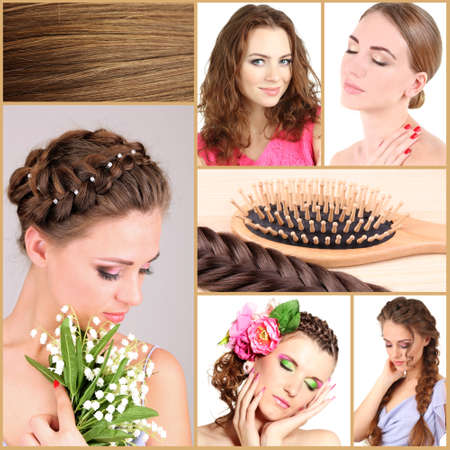 flaxen: Fashion hairstyle collage Stock Photo