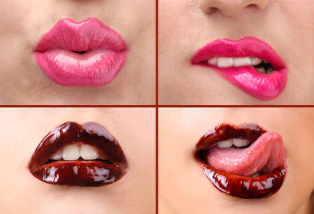 kissing lips: Collage of female lips Stock Photo