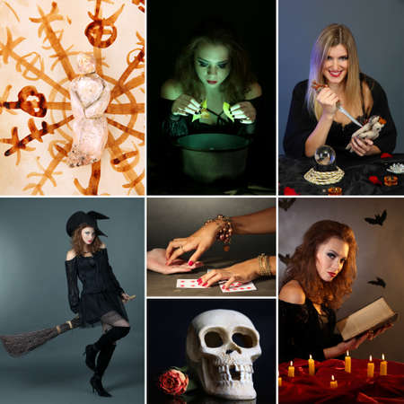 Dark magic and witch collage photo