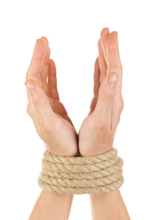 Tied hands, isolated  white photo