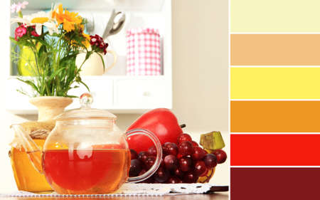 Kitchen composition. Color palette with complimentary swatches photo