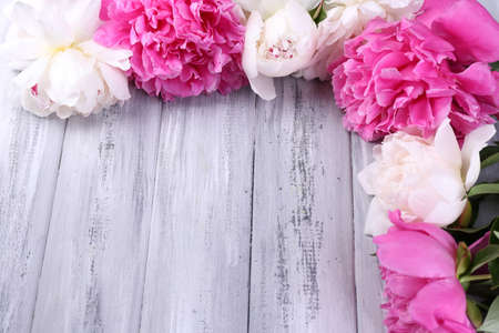 Beautiful pink and white peonies on color wooden background Stock Photo