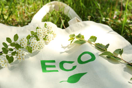 Eco bag on green grass, outdoors Banco de Imagens