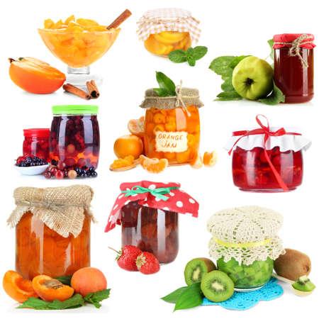 Sweet jam collage, isolated on white photo