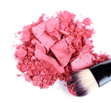 make dirty: Crushed eyeshadow with brush isolated on white  Stock Photo