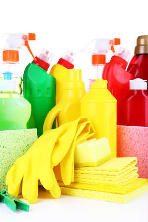 Cleaning products close up photo