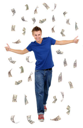 Happy man enjoying rain of money, isolated on white photo