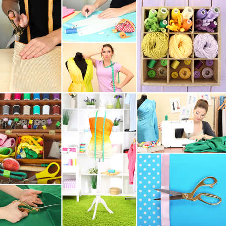 Fashion design collage. Sewing items photo