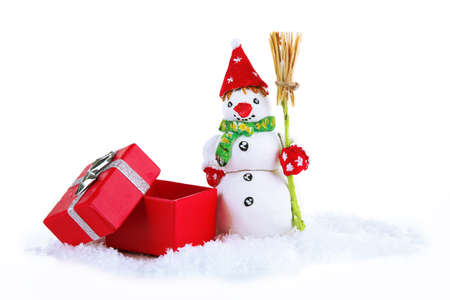 Beautiful snowman  isolated on white photo