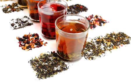 Assortment of tea isolated on white photo