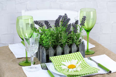 Trendy table setting in restaurant photo