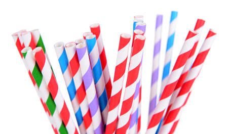 red straw: Colorful straws isolated on white