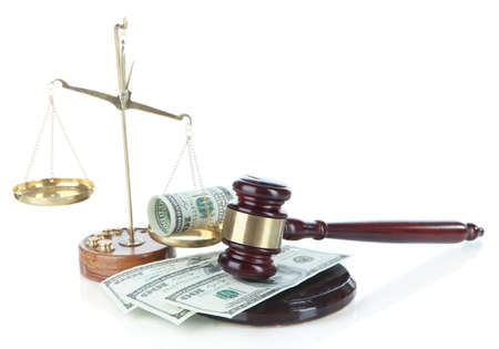 defendant: Gavel,scales and money isolated on white